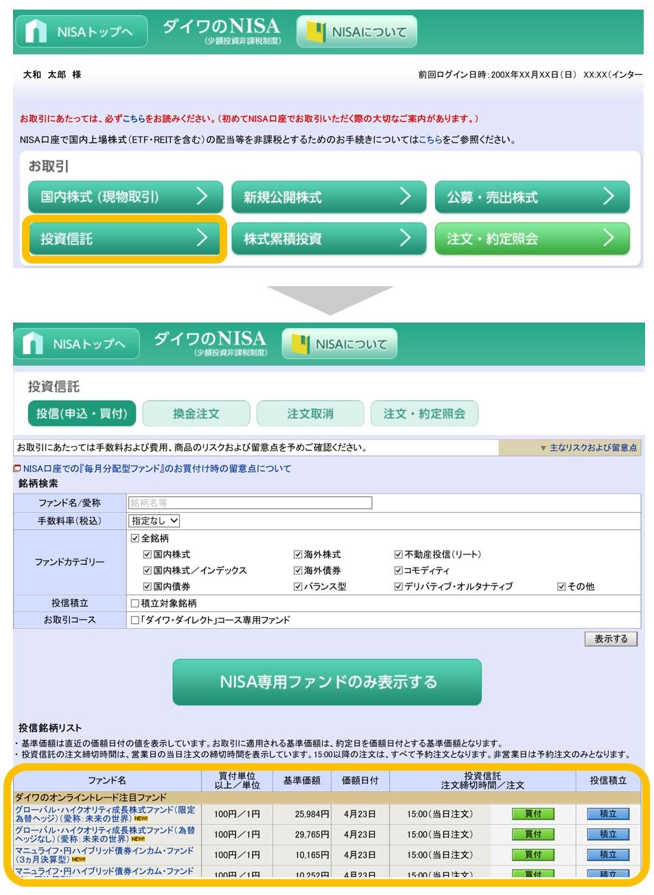 NISA購入可能ファンド